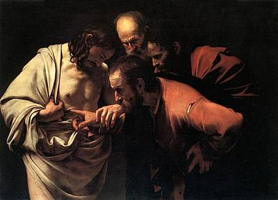 Incredulity Of Saint Thomas Art Print by Michelangelo Caravaggio
