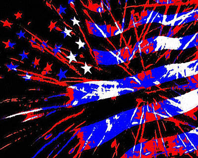 Fireworks Painting - Independence Day by Kenneth Krolikowski