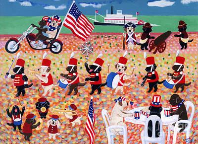 Chocolate Labrador Retriever Painting - Independence Day Labradors by Naomi Ochiai