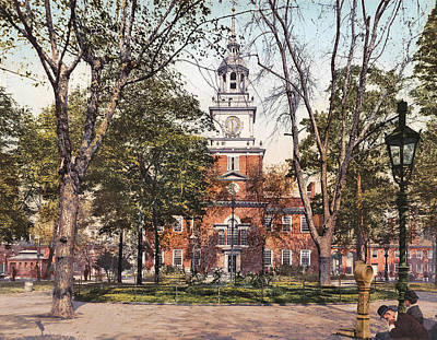 Philadelphia Scene Digital Art - Independence Hall 1900 by Unknown