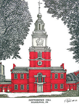 Drawing - Independence Hall by Frederic Kohli
