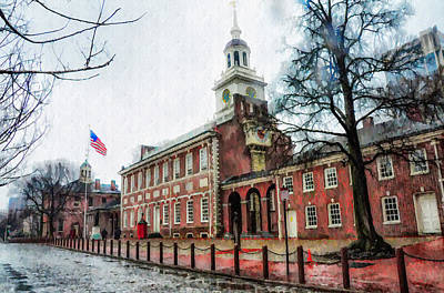 Independence Hall From Chestnut Street Print by Bill Cannon