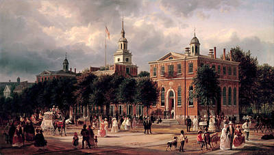 Independence Hall In Philadelphia Print by Ferdinand Richardt