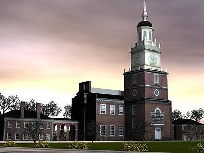 Digital Art - Independence Hall by John Pangia