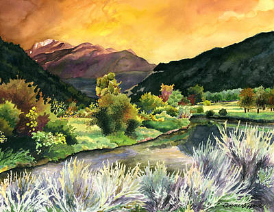 Orange Sky Painting - Independence Pass by Anne Gifford