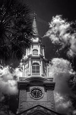 Photograph - Independent Presbyterian Church Steeple In Black And White by Greg and Chrystal Mimbs