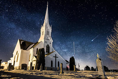 Meteor Photograph - Indherred Church by Aaron J Groen