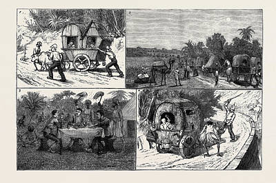 India, A March To A Hill Station With Invalids 1 Art Print
