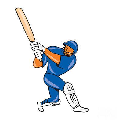 India Cricket Player Batsman Batting Cartoon Art Print