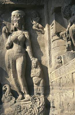 Hindu Goddess Photograph - India. Ellora. Ellora Caves. Ellora by Everett