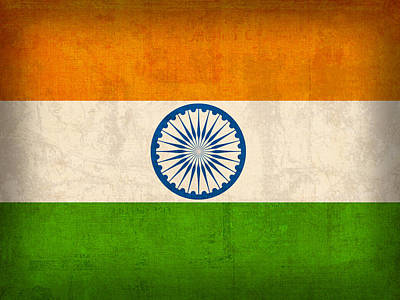 India Flag Vintage Distressed Finish Art Print