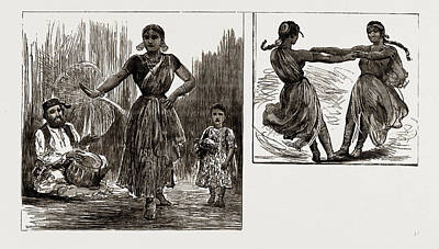 India In London, 1886 A Tanjore Nautch Dancer And Child Art Print