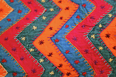 Bedspreads Photograph - India Jaipur Traditional Indian Textile by Kymri Wilt