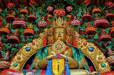 Religious Statues Photograph - India, Jammu & Kashmir, Ladakh, Stok by Ellen Clark