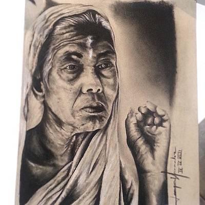 Dallas Drawing - India by Joaquin Hernandez