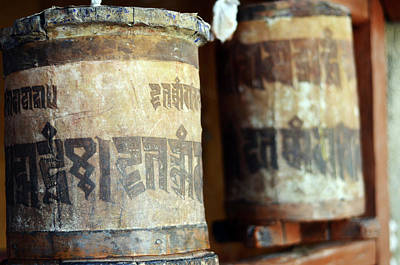 Tibetan Buddhism Photograph - India, Ladakh, Likir, Old Prayer Wheels by Anthony Asael