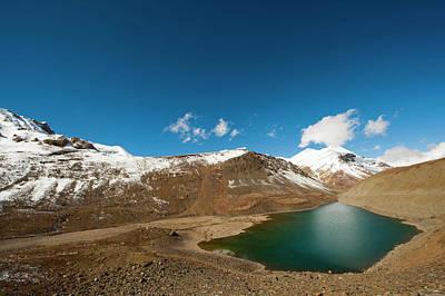 Dry Lake Photograph - India, Ladakh, Scenic Landscape by Anthony Asael