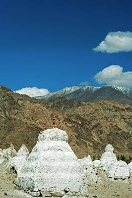 India, Ladakh, Shey, White Stupa Forest Print by Anthony Asael