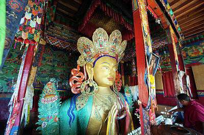 India, Ladakh, Thiksey, Monk Making Art Print