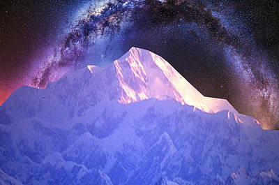 Navinjoshi Mixed Media - India Nepal Himalaya Mountain Ranges Snow Sparkle Milky White Presentation Obtained Through Digital  by Navin Joshi