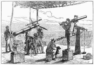 Solar Eclipse Painting - India Observatory, 1871 by Granger