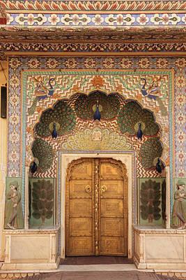 India, Rajasthan, Jaipur, Peacock Door Print by Alida Latham