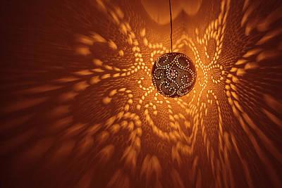 Illuminated Wall Decorations Photograph - India, Rajasthan, Jaisalmer by Alida Latham