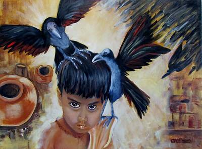 Child Mixed Media - India Rising -- The Lost by Carol Allen Anfinsen