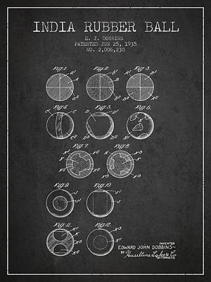 India Rubber Ball Patent From 1935 -  Charcoal Art Print by Aged Pixel