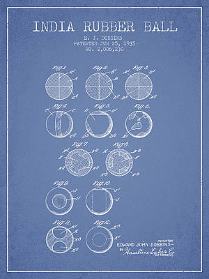 Player Digital Art - India Rubber Ball Patent From 1935 -  Light Blue by Aged Pixel