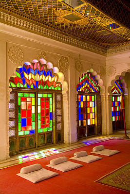 India, Stained Glass Windows Of Fort Art Print by Bill Bachmann