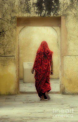 Photograph - India The Woman In Red Jaipur Rajasthan by Neville Bulsara