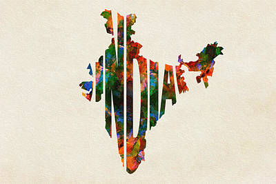 Painting - India Typographic Watercolor Map by Inspirowl Design