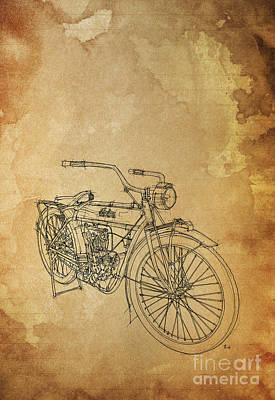 Bike Drawing - Indian 1919 - Handmade Drawing - You Can Write On Top by Pablo Franchi