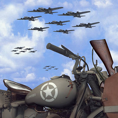 Square Art Digital Art - Indian 841 And The B-17 Bomber Sq by Mike McGlothlen