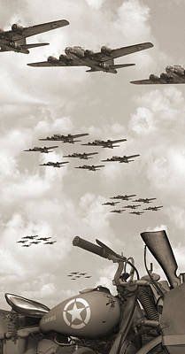 Indian 841 And The B-17 Panoramic Sepia Art Print by Mike McGlothlen