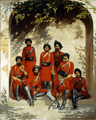 Raj Painting - Indian Army Officers by Gordon Hayward