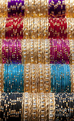 Blue Bracelet Photograph - Indian Bangles Pattern by Tim Gainey