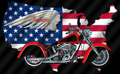 Digital Art - Indian Bike Illustration by Chuck Staley
