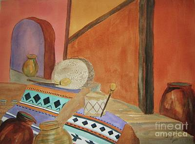Indian Cultural Painting - Indian Blankets Jars And Drums by Ellen Levinson