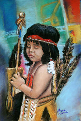 Art Print featuring the painting Indian Boy by Melinda Saminski