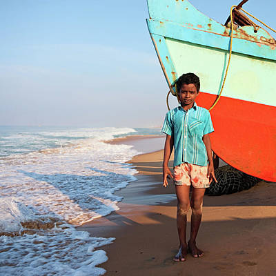 Indian Culture Photograph - Indian Boy On The Beach by Hadynyah