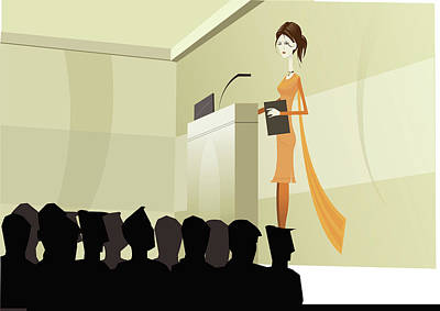 Indian Businesswoman Giving A Lecture Art Print
