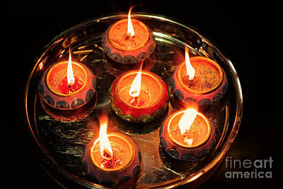 Diwali Photograph - Indian Candles by Charline Xia