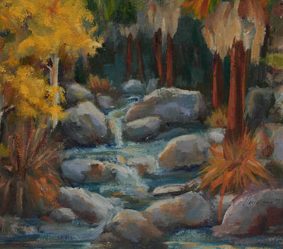 Desert Scape Painting - Indian Canyon Creek by Maria Hunt