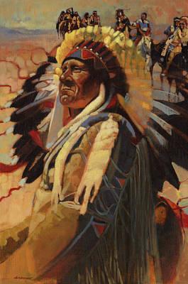 The Chief Indians On Horseback Art Print