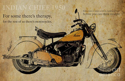 Transport Mixed Media - Indian Chief 1950 And Two Quotes by Pablo Franchi