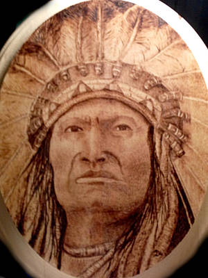 Pyrography Mixed Media - Indian Chief by Dale Bradley