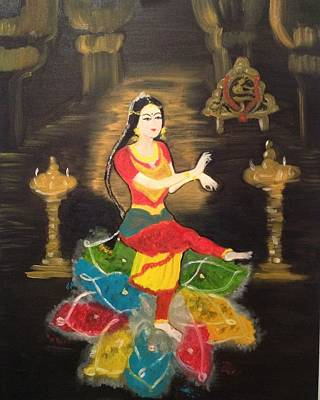 Art Print featuring the painting Indian Classical Dancer by Brindha Naveen