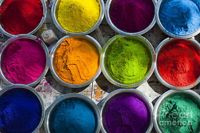 Vivid Color Photograph - Indian Coloured Powder Bowls by Tim Gainey
